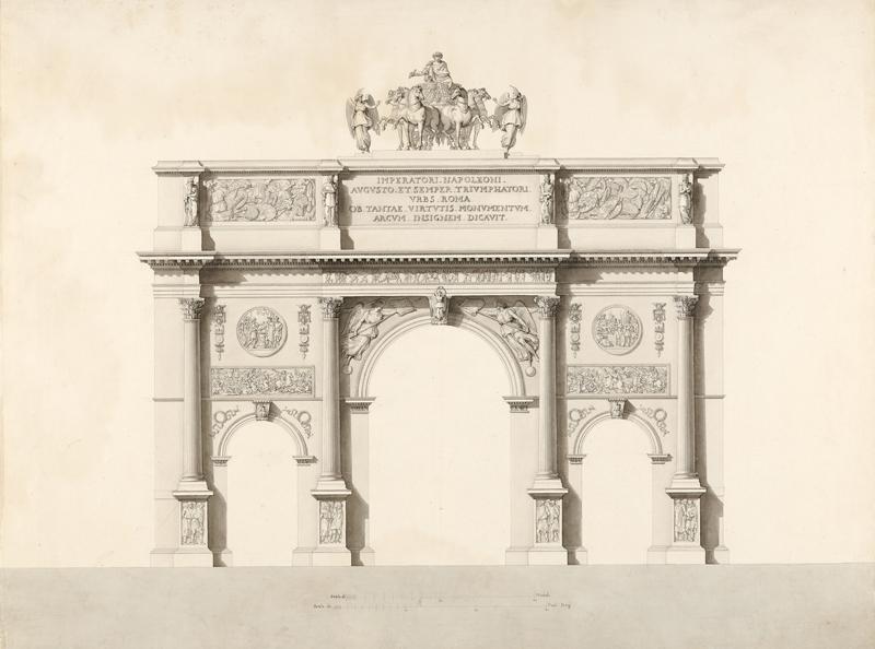 Progetto per un arco di trionfo in onore dell'imperatore Napoleone, inchiostro acquerellato su carta, Museo Napoleonico (inv. MN 3360)