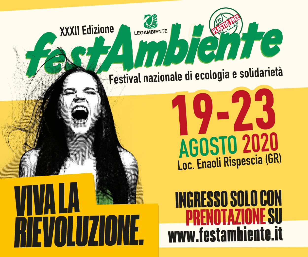 XXXII Edizione Festambiente Festival nazinale di ecologia e solidarietà – dal 19 al 23 agosto 2020 – località Enaoli Rispescia (GR)