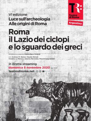 Locandina della Rassegna Luce sull'Archeologia 2020 Roma, Teatro Argentina